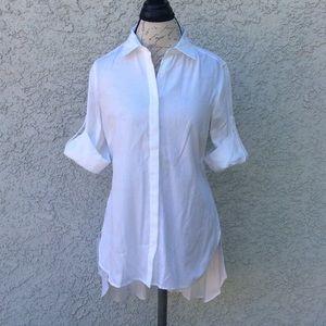 BCBGMAXAZRIA Aylin White Button Down Shirt Blouse